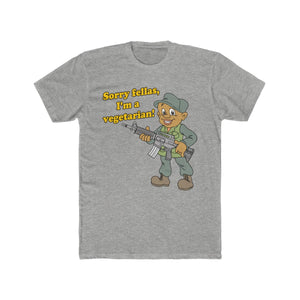 """I'm a Vegetarian!"" (Warrior) Men's Cotton Crew Tee"
