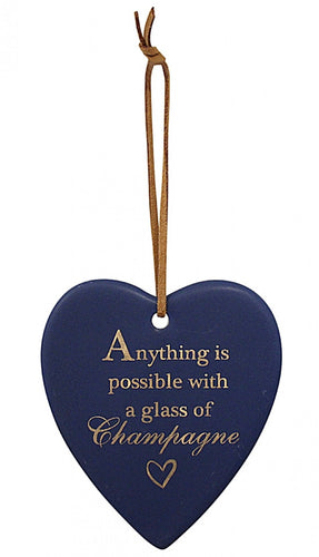 Hanging Heart Navy Champagne