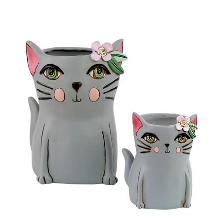 Pretty Kitty Grey Planter