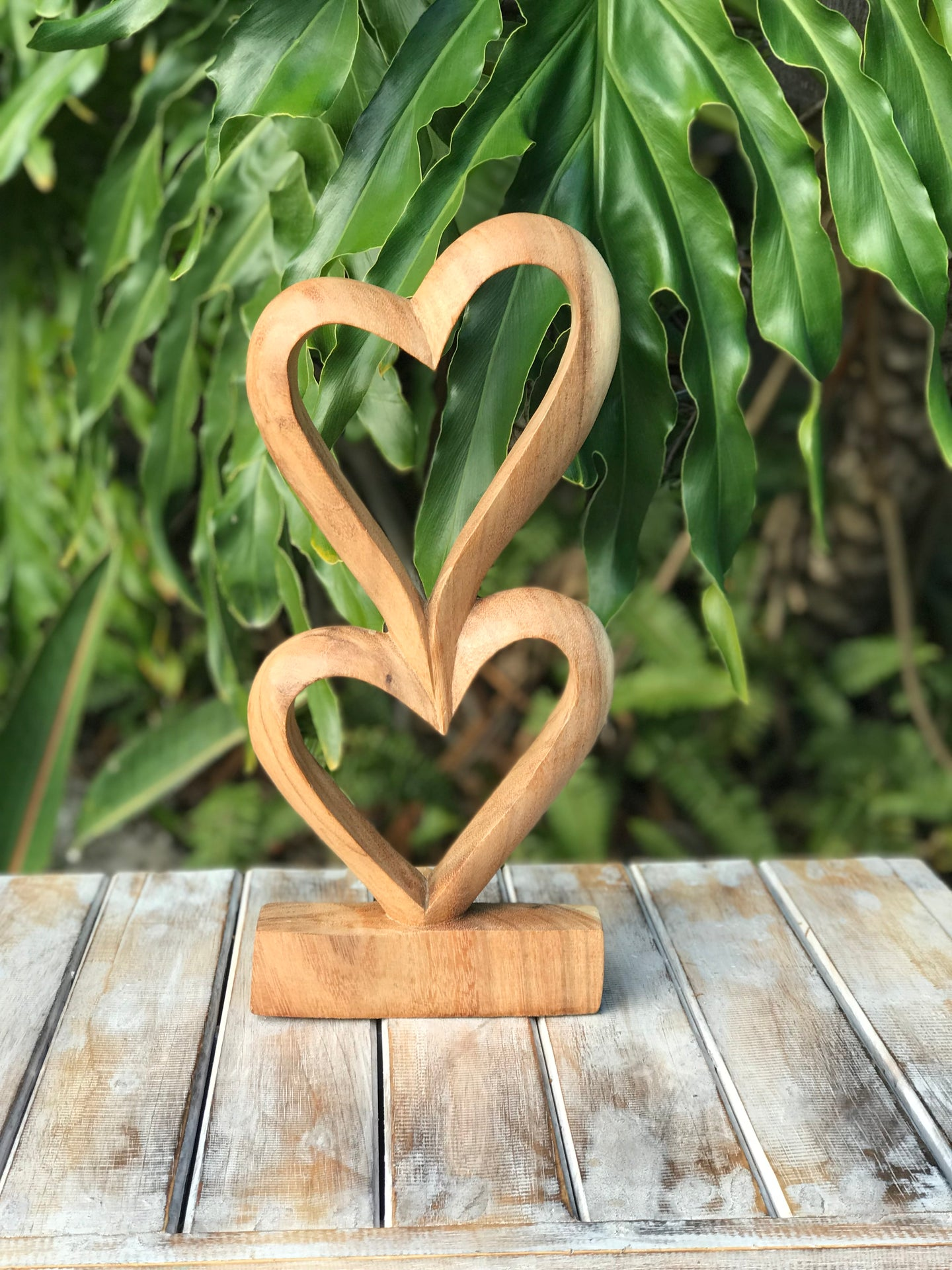 Double Wooden Heart Decor