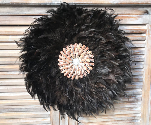 Large Black Juju Hat With Pink Shell