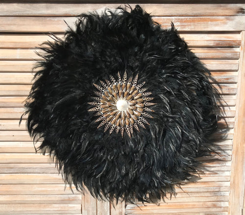 Large Black Juju Hat With Brown Shell