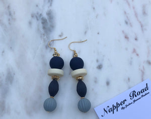 Navy And Grey Earring
