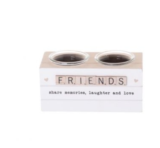 FRIENDS Scrabble Hearts Candle Holder Double