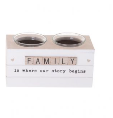 FAMILY Scrabble Hearts Candle Holder Double