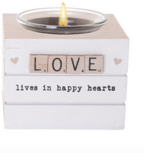 LOVE Scrabble Hearts Candle Holder