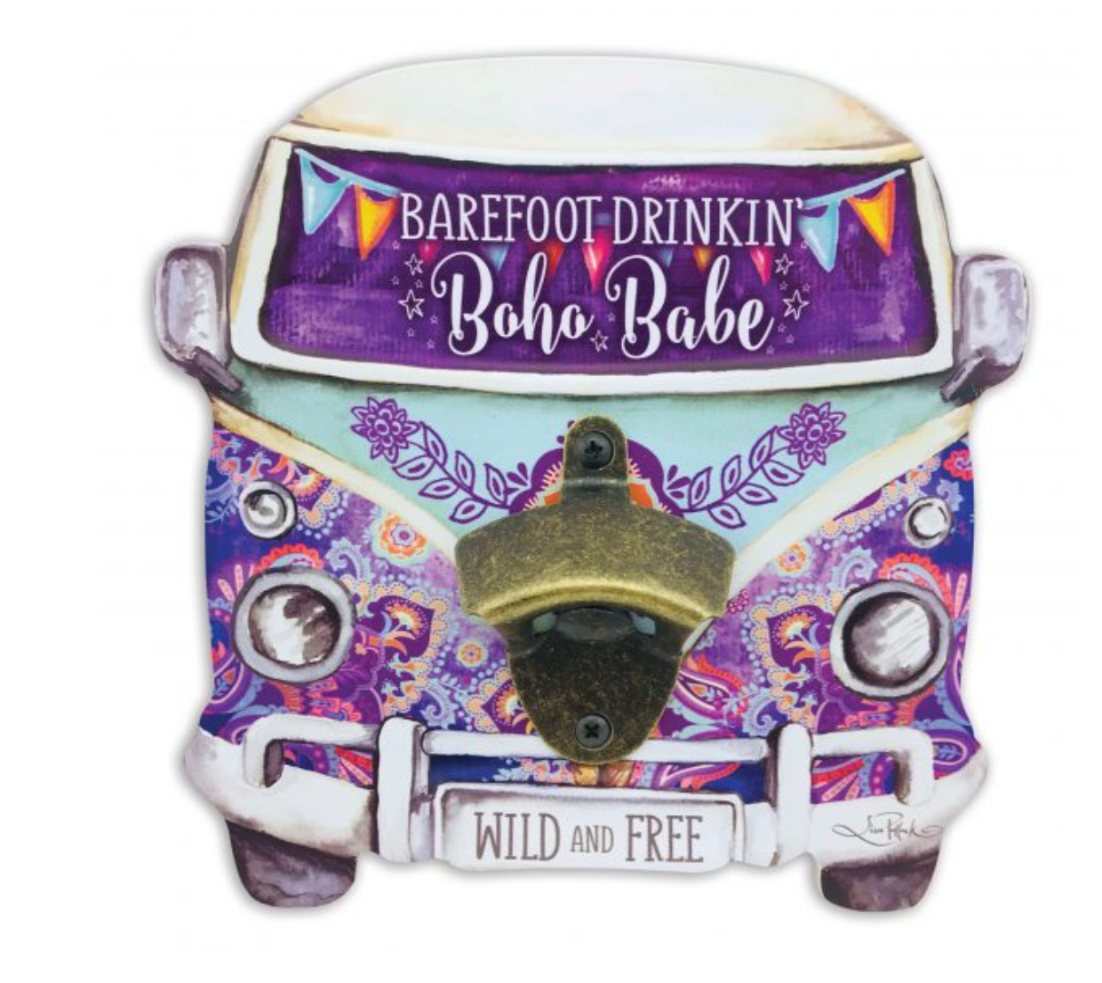 Purple Kombi Wall Bottle Opener
