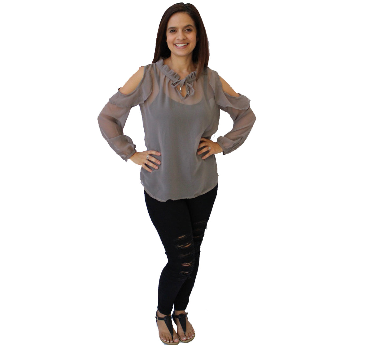 Chantelle Chiffon Blouse Grey