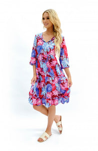 One Summer Tie Neck Dress Pink