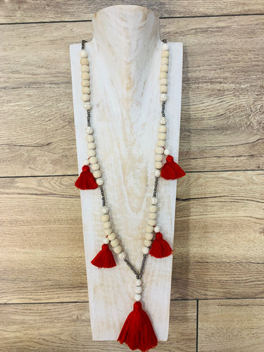 Boho Natural Wood Beaded Necklace Red