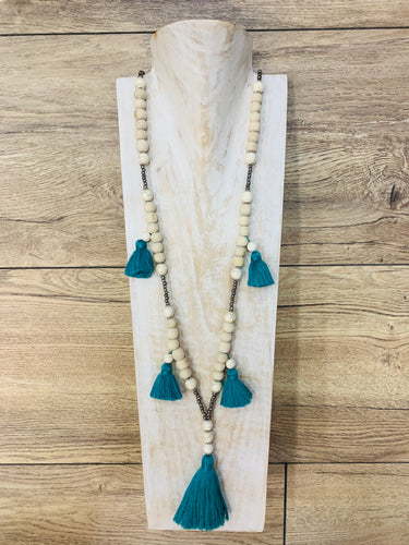 Boho Natural Wood Beaded Necklace Teal