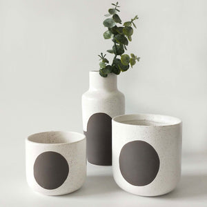 Luma Vase White Brown 18cm