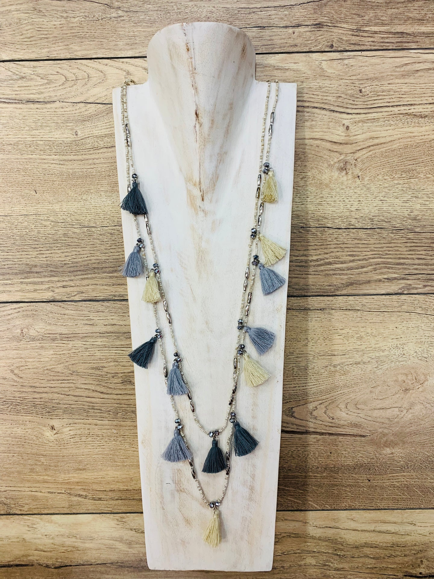 Double Layer Tassel Necklace Cream
