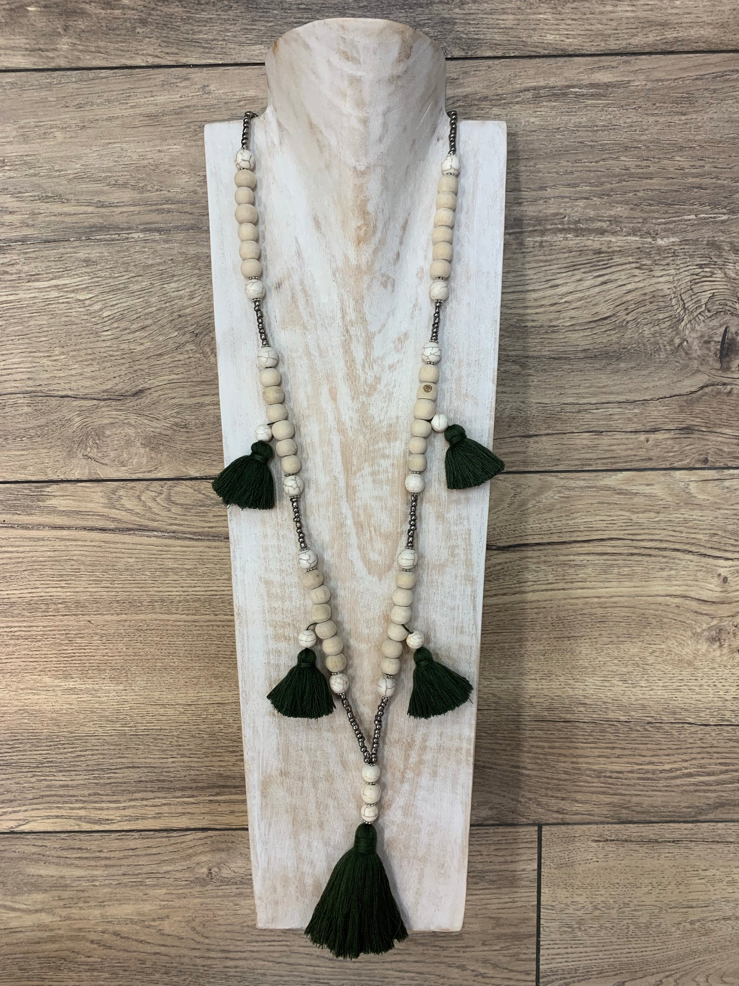 Boho Natural Wood Beaded Necklace Olive