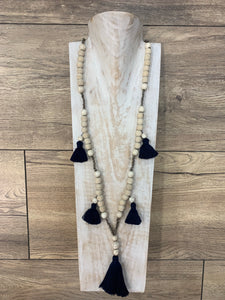 Boho Natural Wood Beaded Necklace Navy