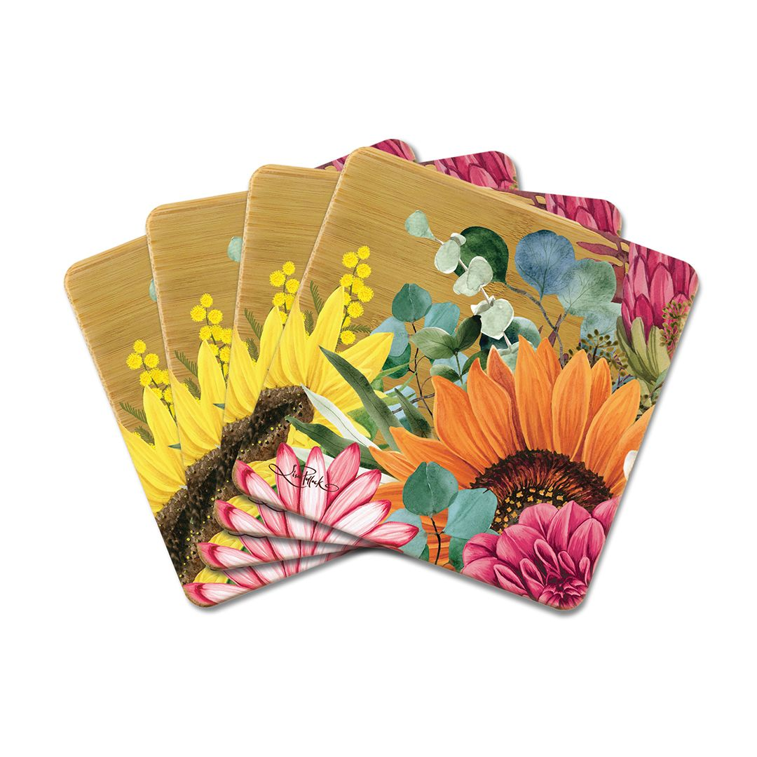 Bamboo Coaster- Sunflowers