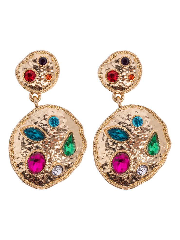 Gold Multi Stone Jewelled Earrings - Elizabeth Summer