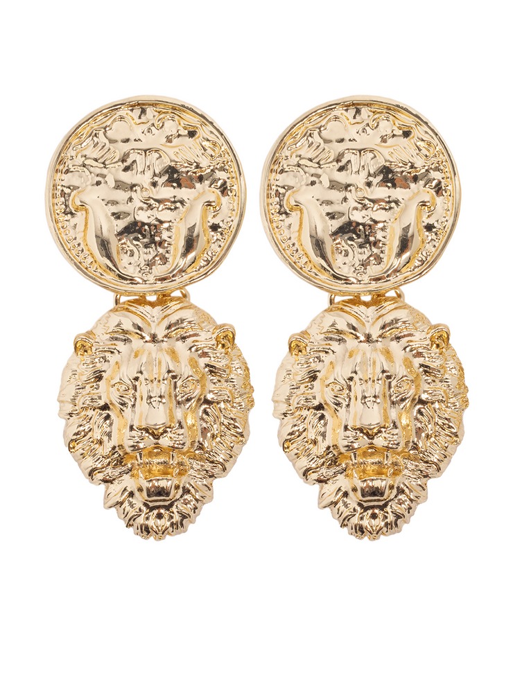 Lion Gold Earrings - Elizabeth Summer