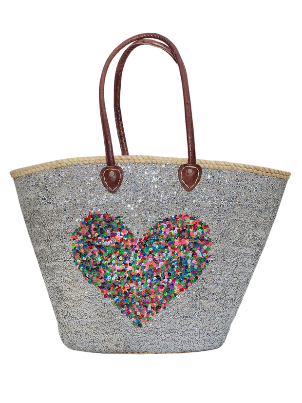 Basket with Initial - Silver Basket - Multi Heart - Elizabeth Summer
