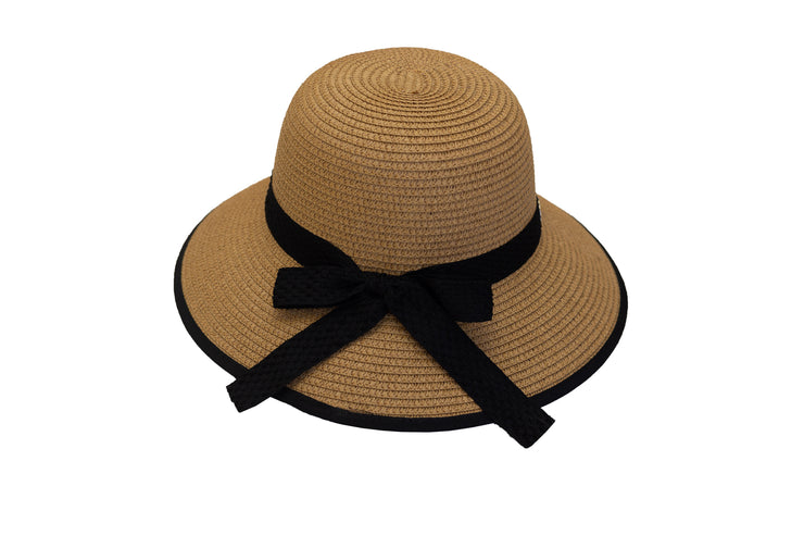 The Emily - Caramel with black trim and black ribbon