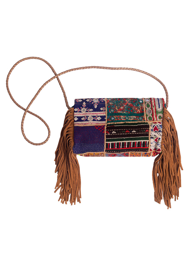 Boho Vintage - Sling Bag  with leather tassels - Elizabeth Summer