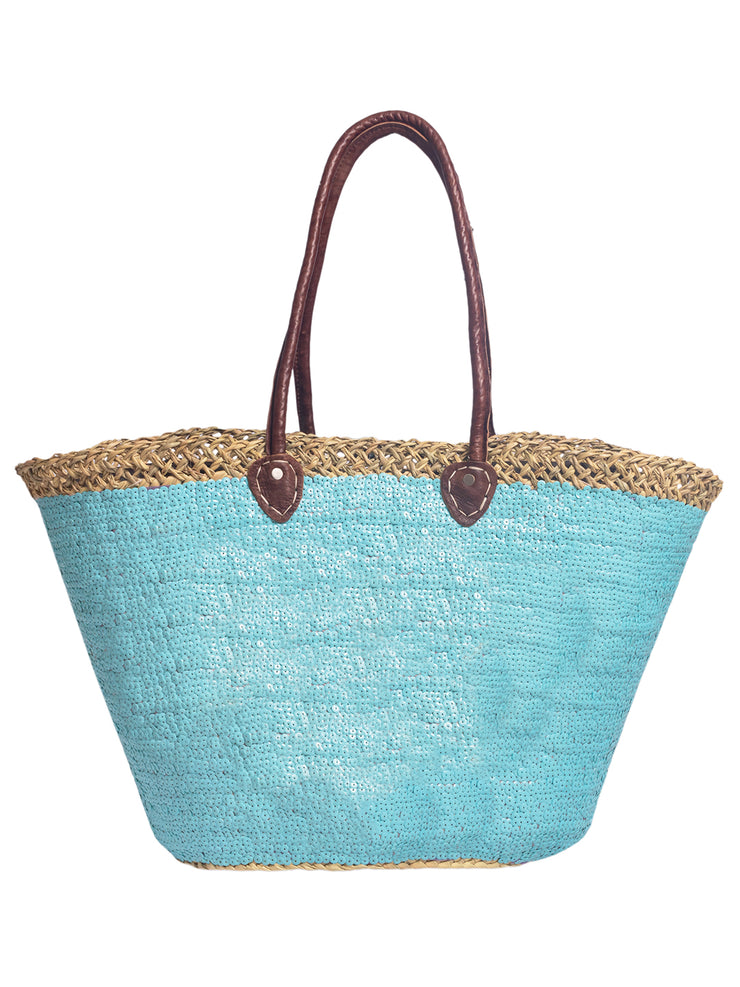 Moroccan Basket - Personalised - Pale Blue Sequins - Elizabeth Summer