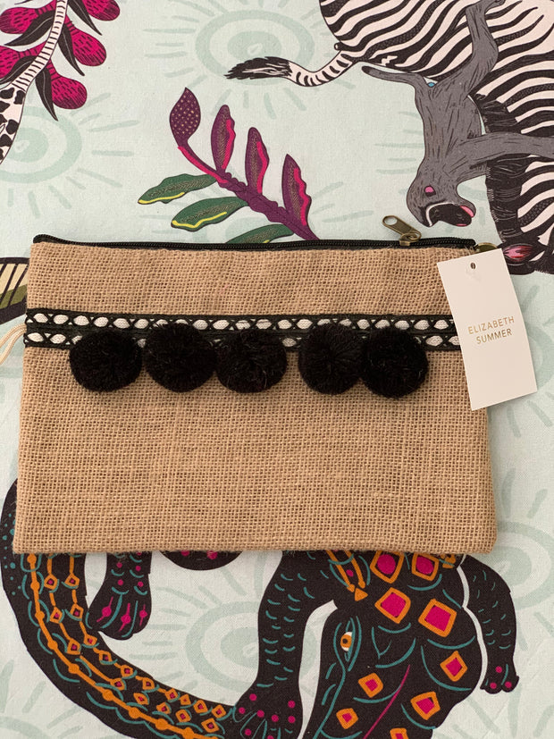 Monogram - Large -  Pom Pom Clutch - Elizabeth Summer