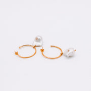 Katy Valentine Collections - Pearl Hoop Earrings - Elizabeth Summer