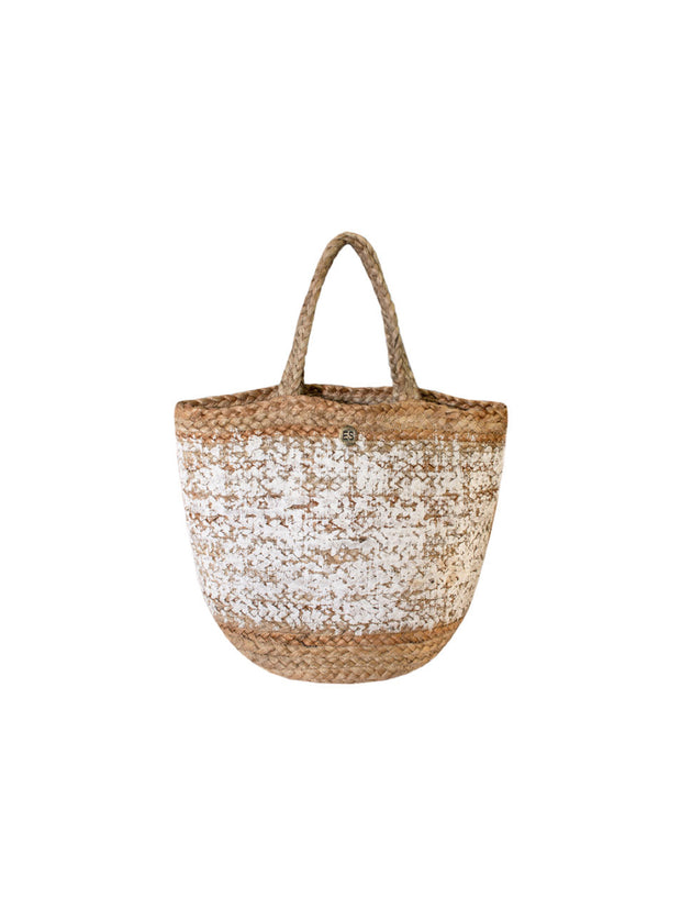 White Monogram Basket: Personalised - Elizabeth Summer