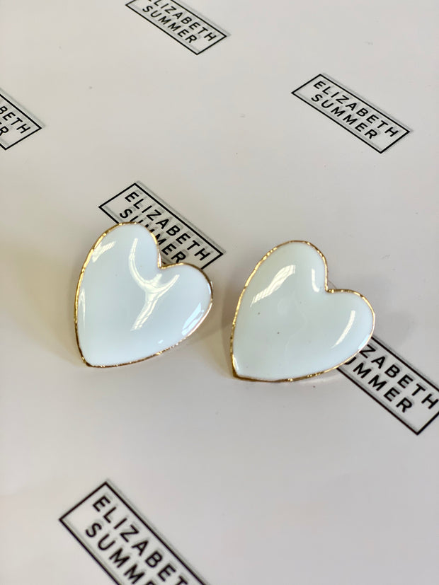 Heart Earrings - White - Elizabeth Summer