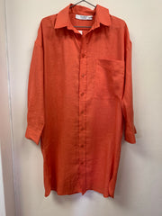 Classic Shirt Dress - Orange