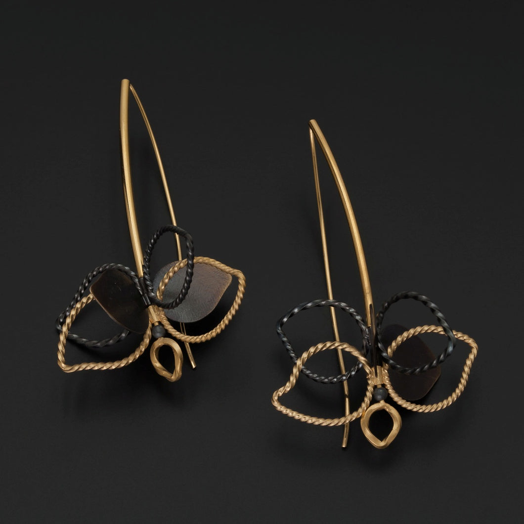 Gold & Oxidised Silver Leaf Earrings