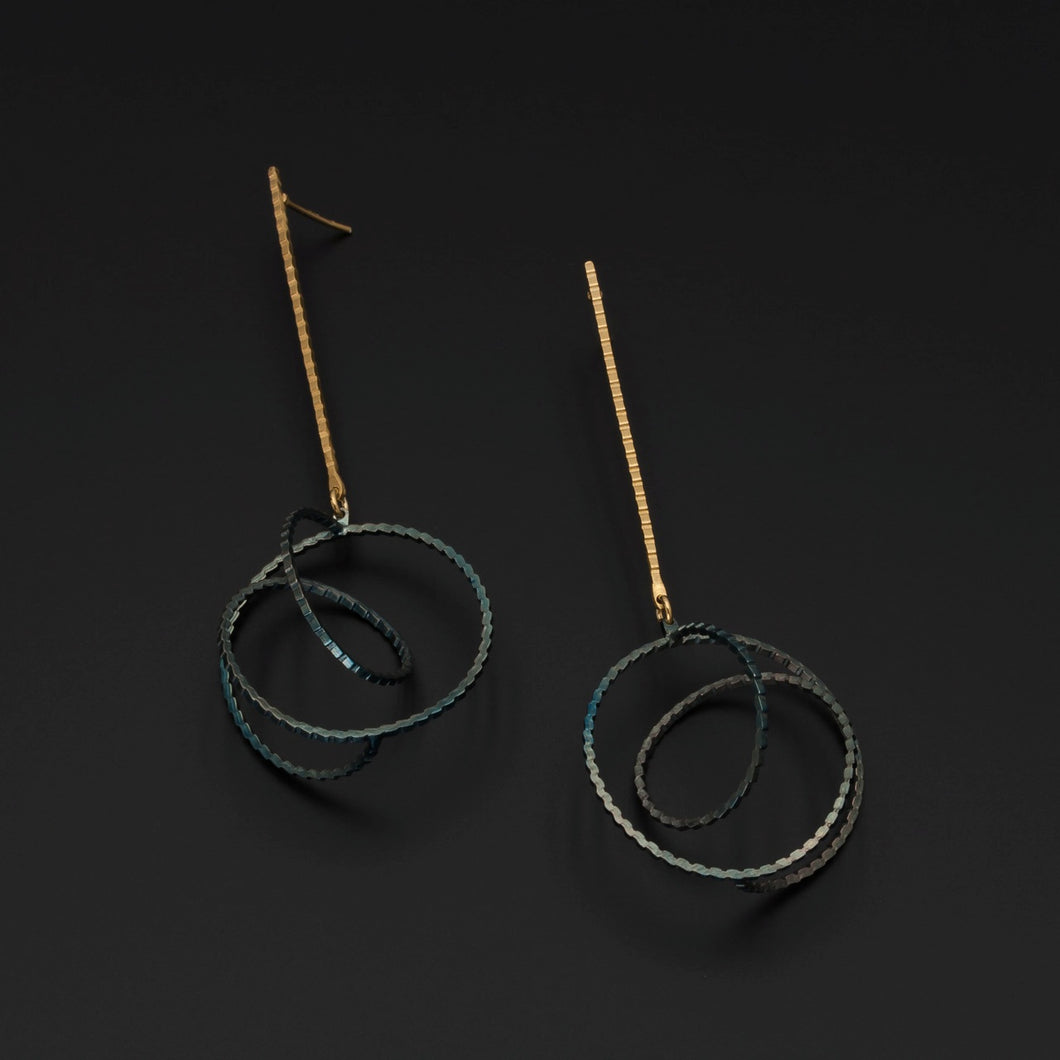 Oxidised Silver Twist Earrings