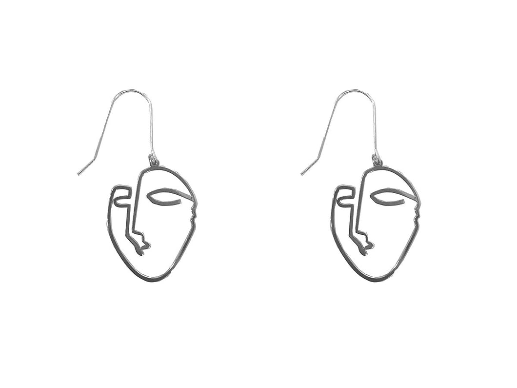 Small Silver Face Earrings
