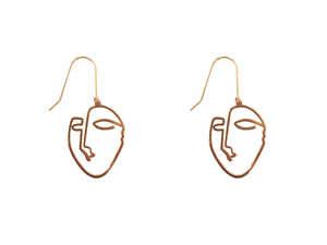 Small Gold Face Earrings