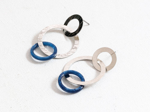 Blue Zoe Oval Links Earrings
