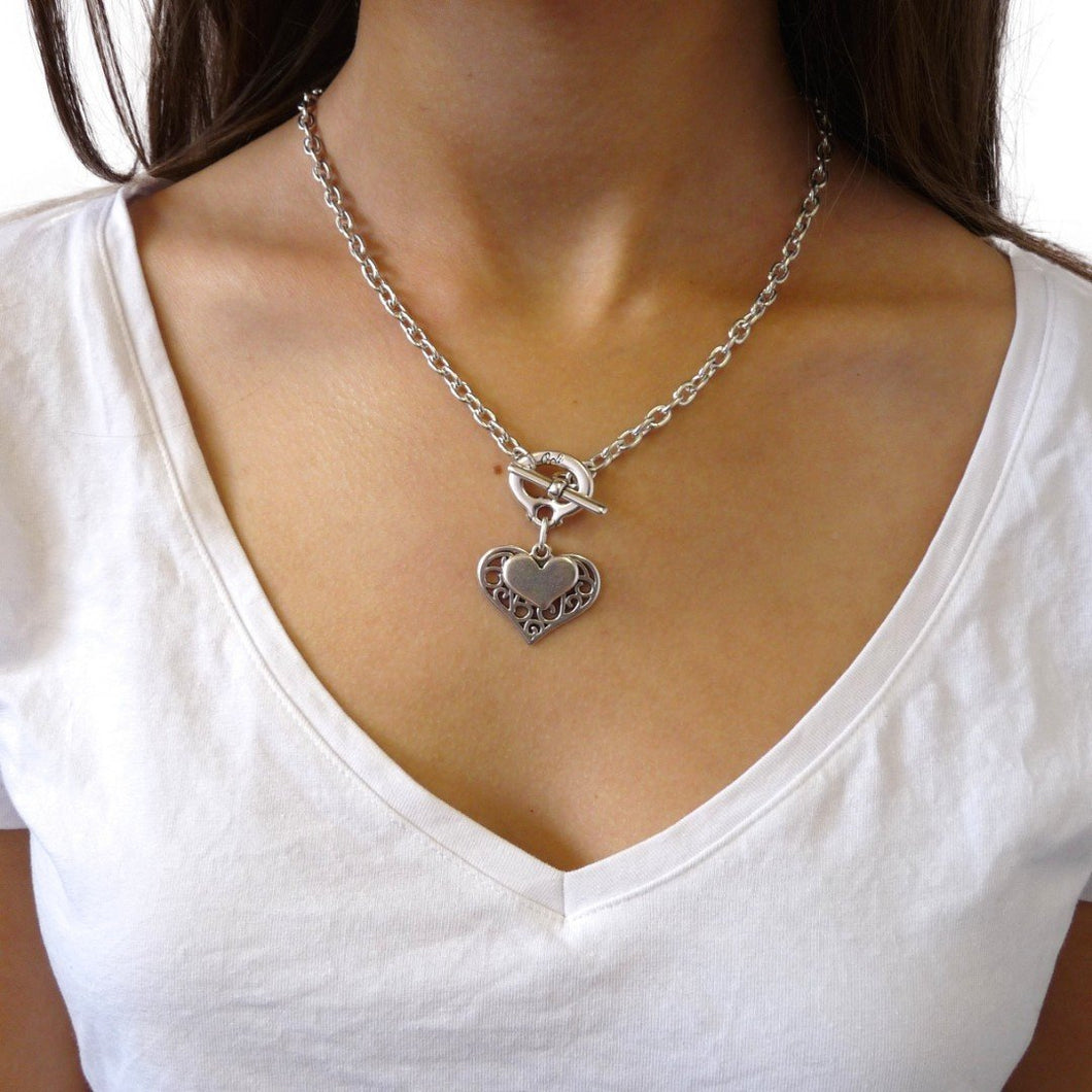 Two Tone Filigree Heart Necklace