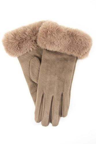 Taupe Faux Fur Gloves