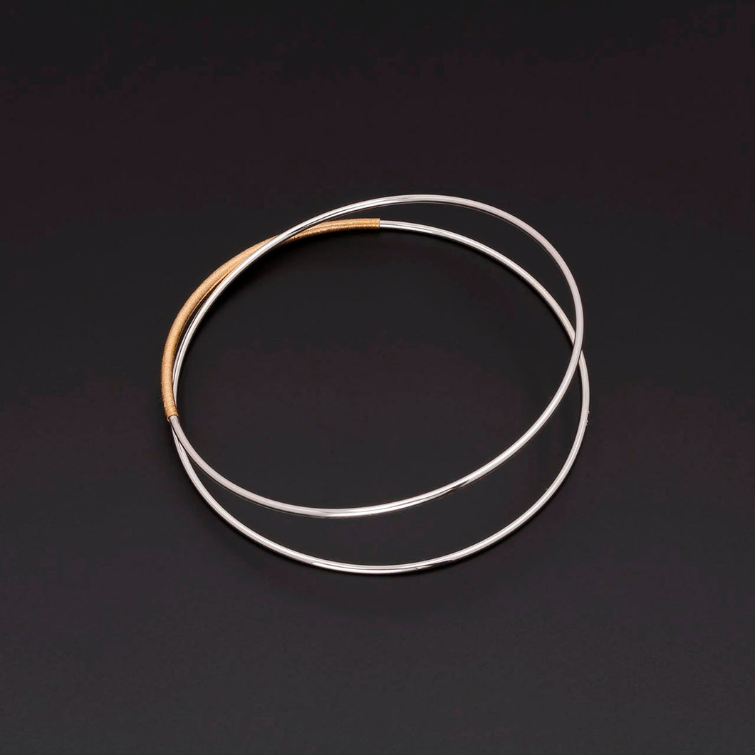Double Silver & Gold Accent Bangle