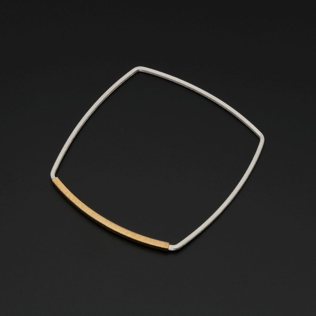 Square Silver & Gold Accent Bangle