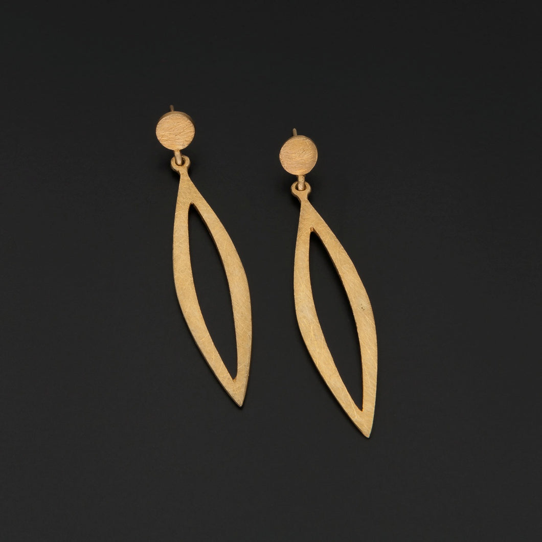 Gold Plated Pointed Drop Earrings