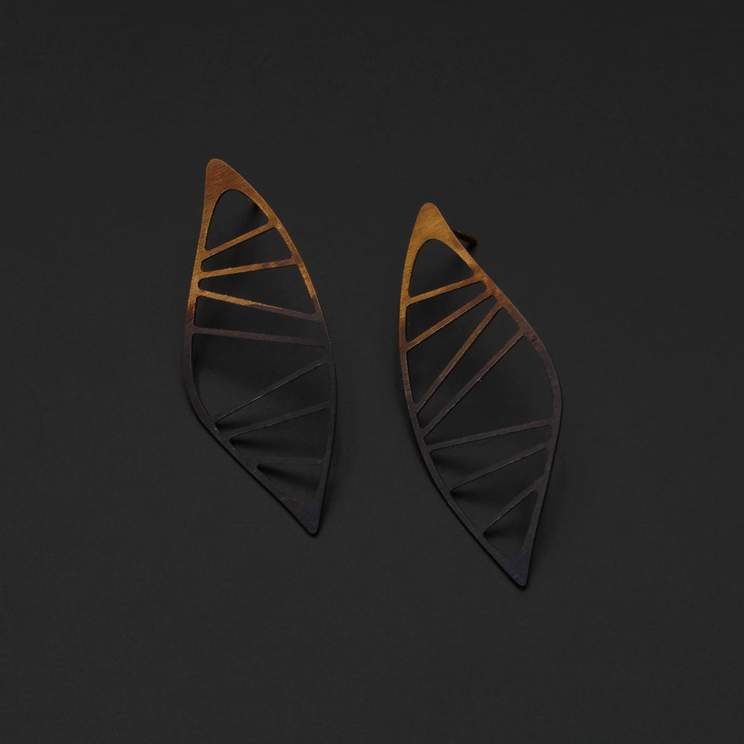 Gold Plated & Oxidised Silver Leaf Earrings