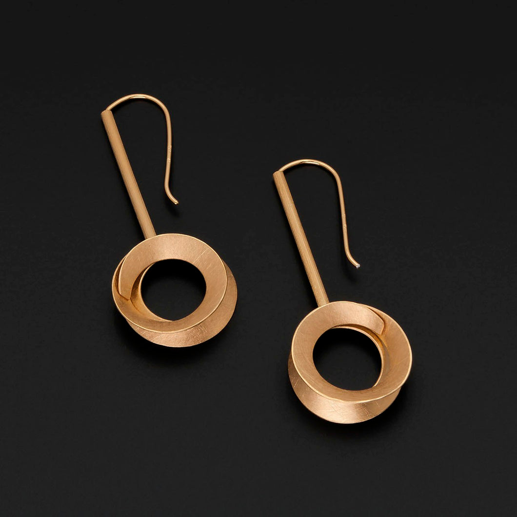 Gold Plated Drop Circle Earrings