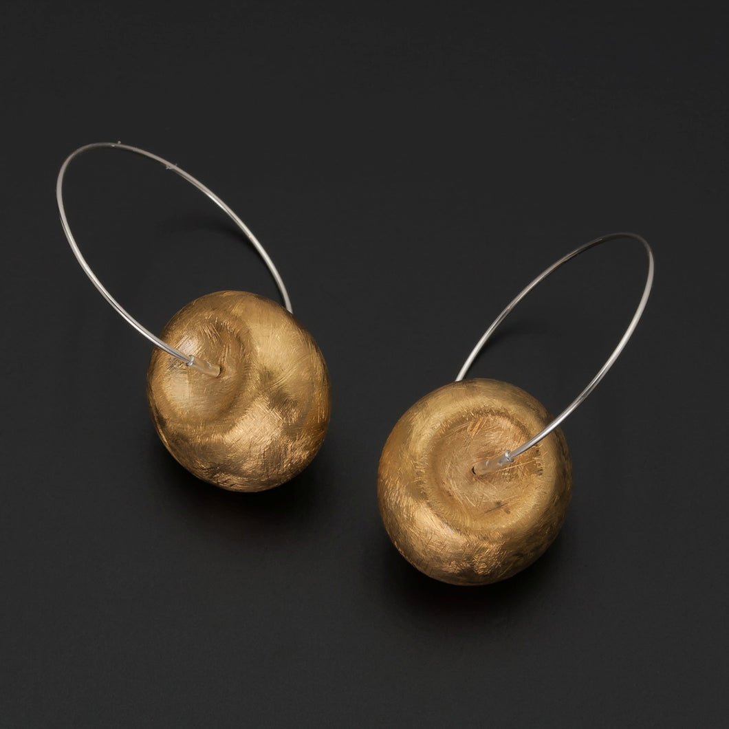 Gold Plated Cushion Hoop Earrings