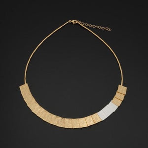 Gold Plated & Silver Square Necklace