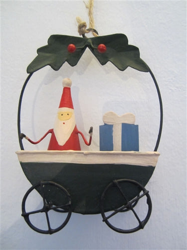 Santa In Cart Decoration