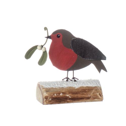 Mistletoe Robin On Log
