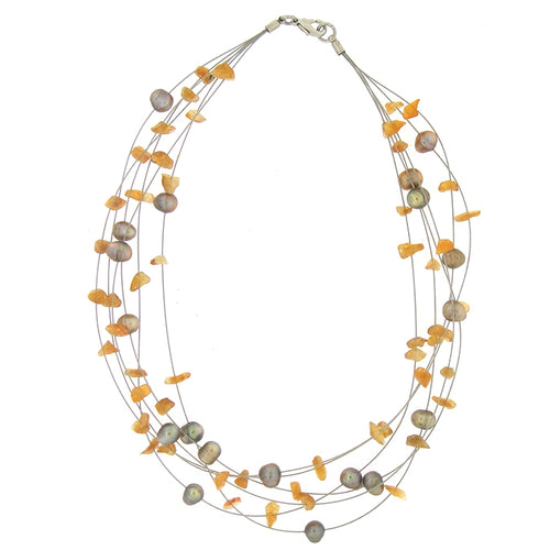Orange and Sweet Water Pearl Necklace