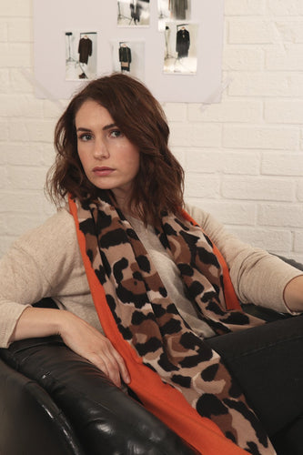 Orange Animal Print Scarf