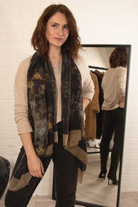 Black & Mustard Wool Scarf